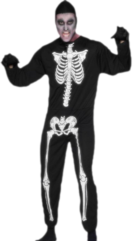 erdbeerloft–Homme Squelette déguisement costume Jumpsuit, M–L, Noir
