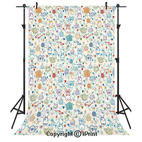 Tea Party Photography Backdrops,Pattern with Cute Pastime Things Baby Bunny Tea Glasses Balls of Yarn and Needles,Birthday Party Seamless Photo Studio Booth Background Banner 6x9ft,Multicolor ()