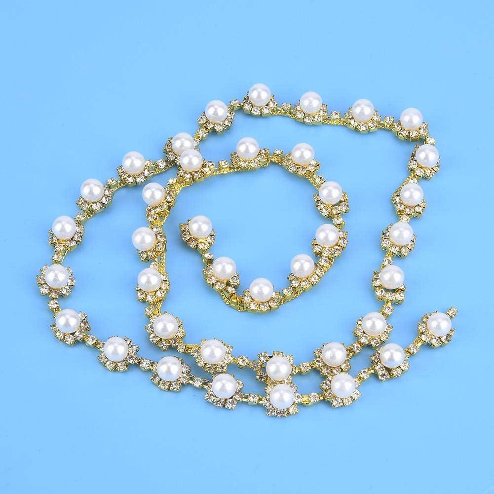 1 yard Rhinestone Chain Pearl Crystal Sew-On Trims For Wedding Dress Applique