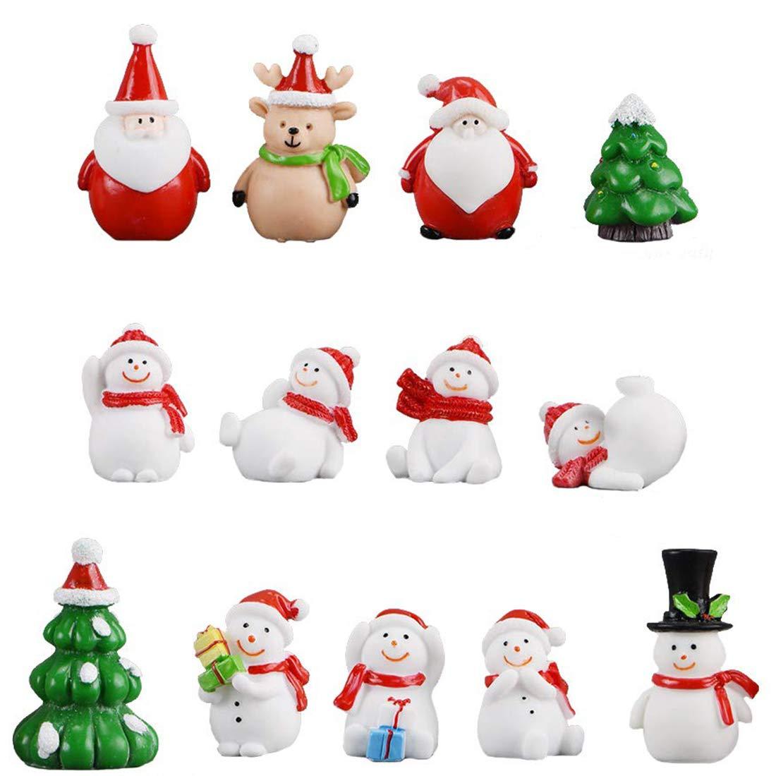 13 Piece Christmas Theme Resin Miniature Garden Figurines Mini Ornaments Set Fairy Garden Dollhouse Decoration Christmas Decoration Ornaments Home Table Decoration Landscape DIY Accessory