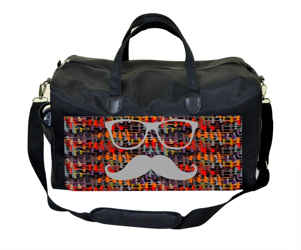 Hipster Glasses and Mustache on Crisscross Pattern Print Design Gym Bag