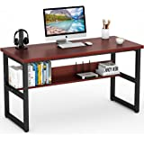 Tribesigns Computer Desk with Bookshelf Works as Office Desk Study Table Workstation for Home Office (55'', Cherry)