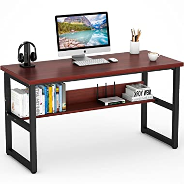 Tribesigns Computer Desk with Bookshelf, 55  Simple Modern Style Writing Desk with Shelves Works as Office Desk Study Table Workstation for Home Office (55inches Cherry)
