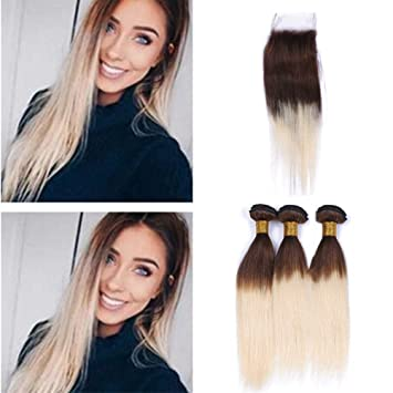 Amazon Com Zara Hair Brown Roots Blonde Hair Bundles With Closure