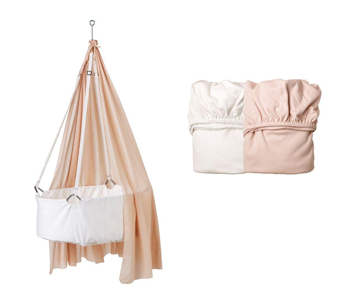 Leander Wiege weiß mit Träumeland Matratze, Deckenhaken, Himmel (Schleier) soft pink, 2 Stück Original-Spannbetttücher soft pink/weiß