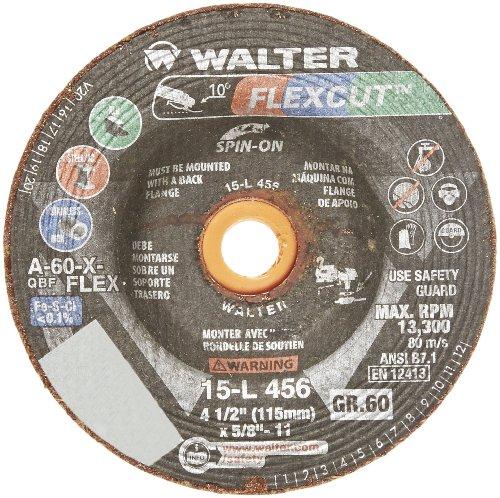 Walter Flexcut Premium Performance Flexible Grinding Wheel, Type 29, Threaded Hole, Aluminum Oxide, 4-1/2
