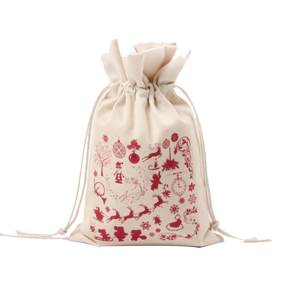 SMILEQ Christmas Small Gift Bag Printing Drawstring Beam Port Storage Candy Bag