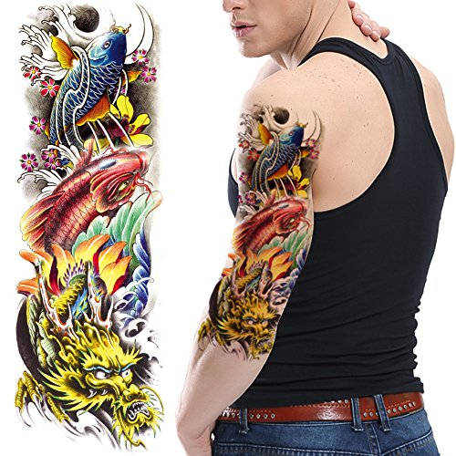TAFLY Colorful Koi Carp and Dragon Temporary Tattoo Waterproof Stickers Fish Full Arm for Men 2 Sheets (Best Sleeve Tattoos In The World)