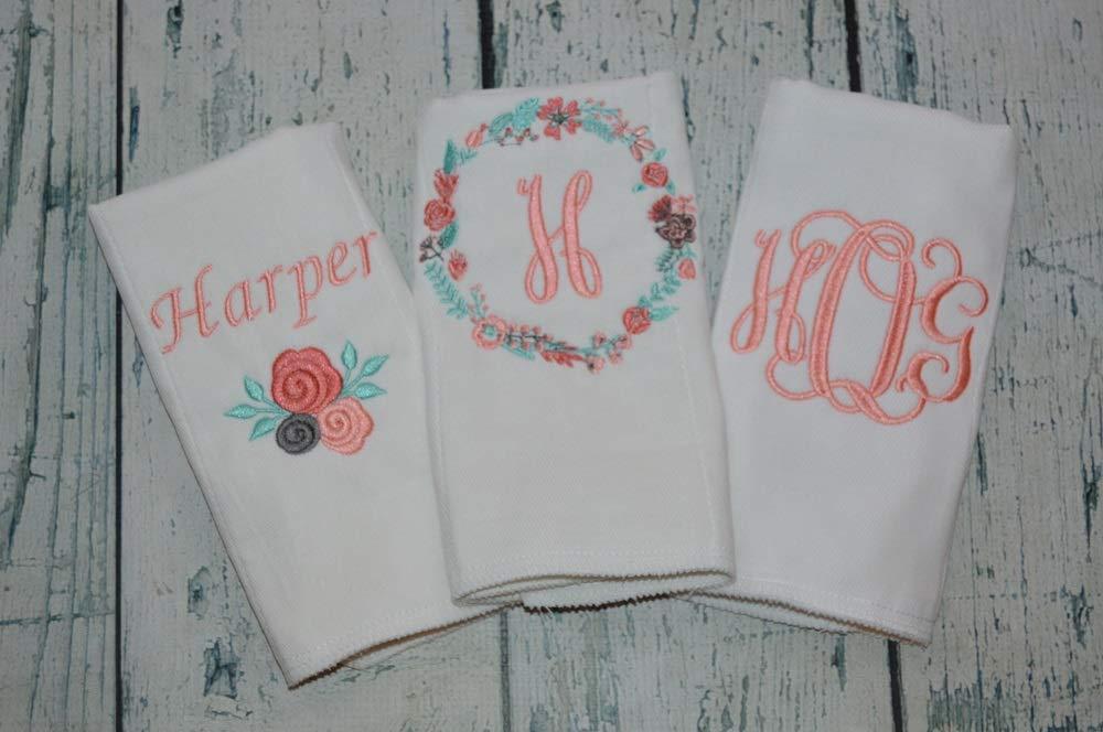 Cloth Diper Set Of 6 Monogrammed Burp Cloths Burp cloth set of 6 Monogrammed burp cloth set of 6 for a girl Burp Cloth Newborn Gift Set