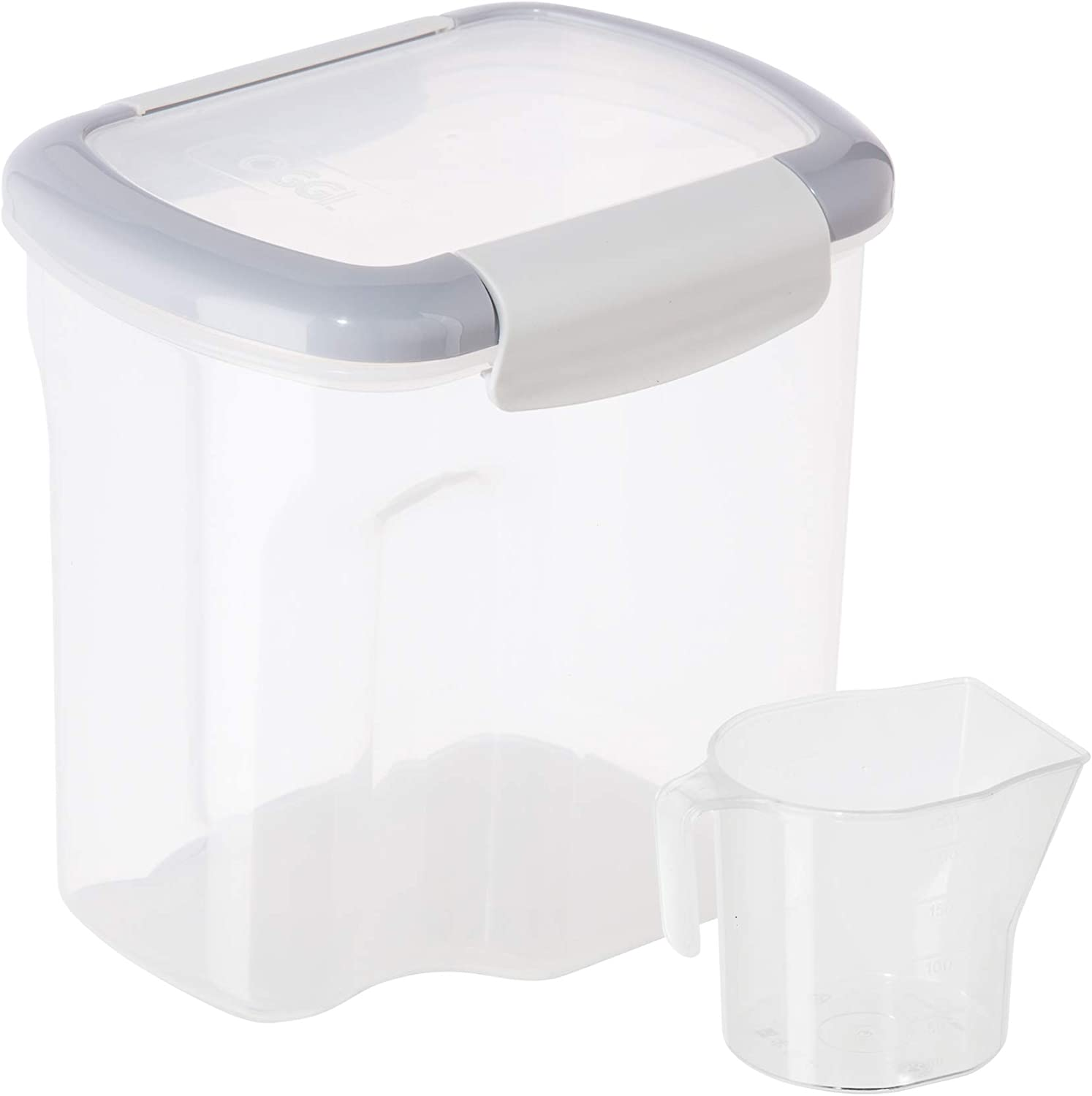OGGI FreshLock Rectangular Storage Container w/ Scoop- 81oz(10 cup), Airtight Food Storage, Pantry Organization, Clear/Gray
