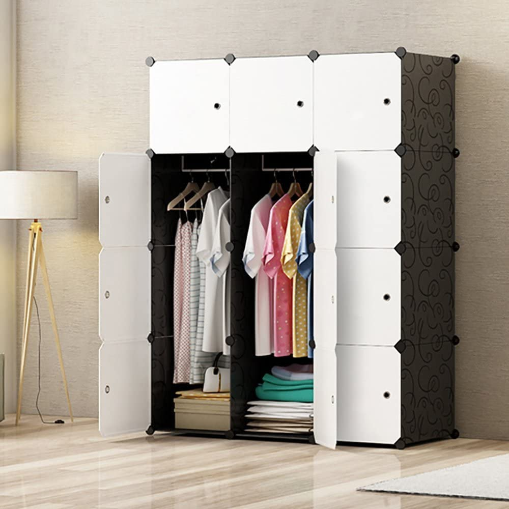 PREMAG Ideal Storage Organizer Cube Closet Portable Wardrobe Combination Armoire, Modular Cabinet for Space Saving(12-Cube)