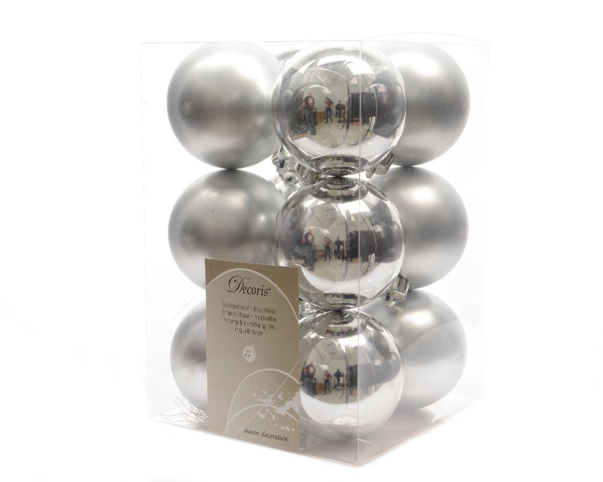Eminza 12 Luxury incassable Boules de No/ël D/écorations 60mm Argent