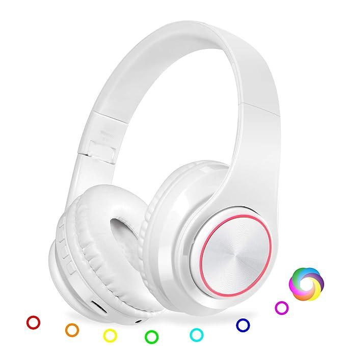 QLtech Auriculares de Diadema Cerrados, Cascos inalámbricos Bluetooth Plegable con Micrófono y Luces Led para Apple iPhone X, 8, 7lus,6,Samsung Huawei Sony ...