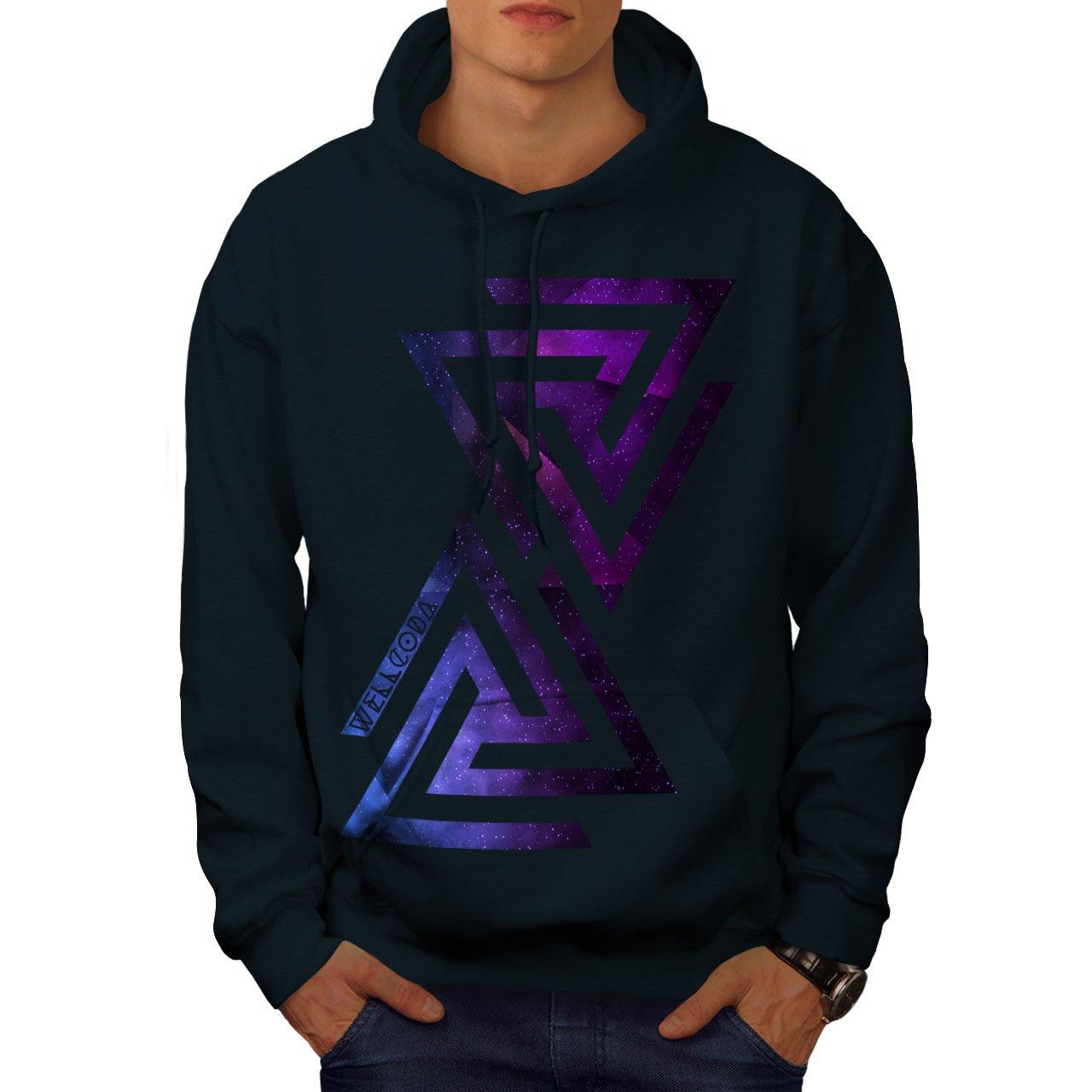 Wellcoda Triangle Universe Mens Hoodie, Galaxy Denim Hooded Sweatshirt