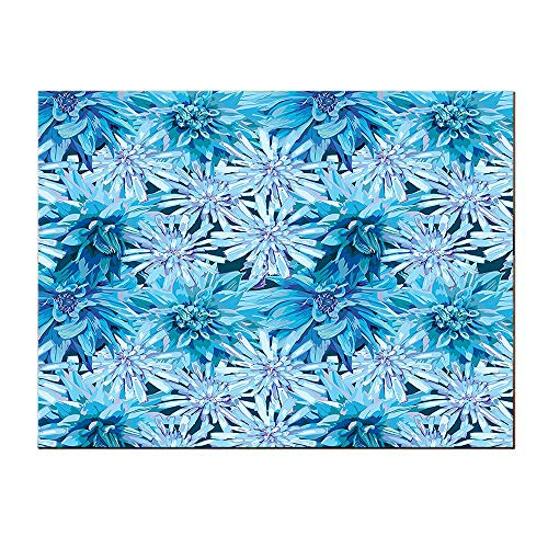 SATVSHOP Home Decor Wall Art-20Lx40W-Dahlia Flower Grungy Watercolors Winter Frozen Snow Blooms with Spiky Incurved Petals Image Blue.Self-Adhesive backplane/Detachable Modern Decorative.