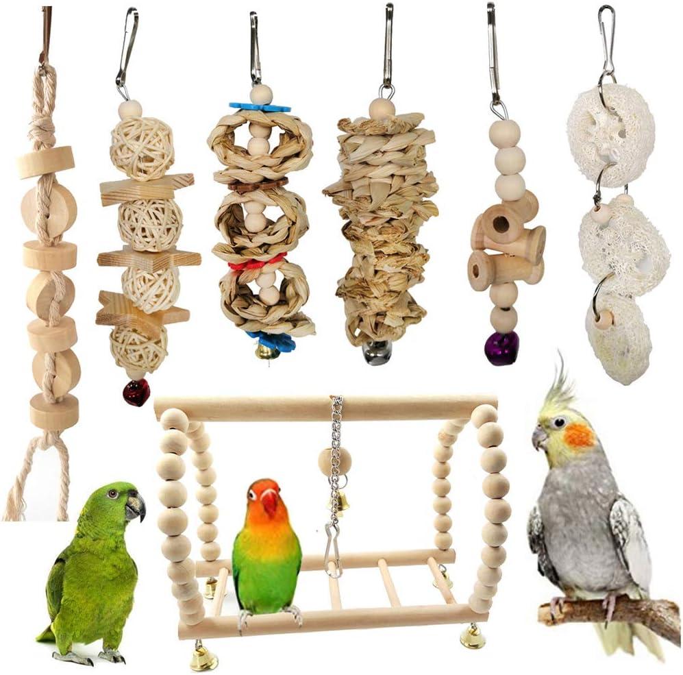 Danigrefinb Juguete para pájaros, 7 Piezas, para Mascotas, Loro, Madera, Bola de Perro, Campana, Cuerda para Colgar, Escalera, Columpio, Juguete para Masticar, Madera y ratán y Metal: Amazon.es: Productos para mascotas