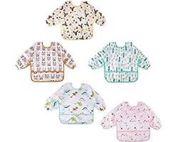 Lictin 5 Pcs Waterproof Long-sleeved Bibs - Bibs with Sleeves Adjustable Neckline for Babies (0-2 years)