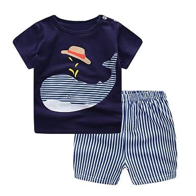 Fossen Ropa Niño Conjunto Verano 0-3 Años Niños Camiseta de Manga Corta Impresión de Ballena de Dibujos Animados y Pantalones Cortos a Rayas: Amazon.es: ...