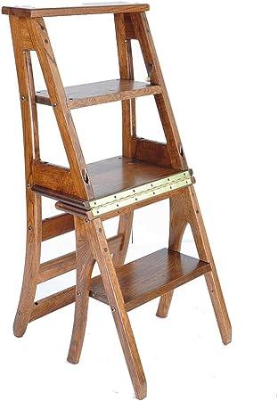 GR5AS Taburete Escalera Plegable de Madera Maciza, fácil de Limpiar, 100 kg, Madera Robusta, marrón, 39X50X91CM: Amazon.es: Hogar