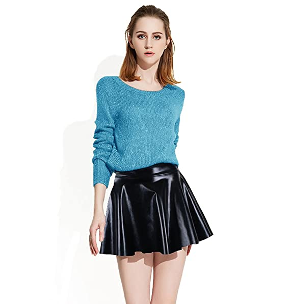 352e51e7f14ac Women's Wet Look Flared Metallic Pleated Mini Skirt, Black, 29 Waist / 17  Length