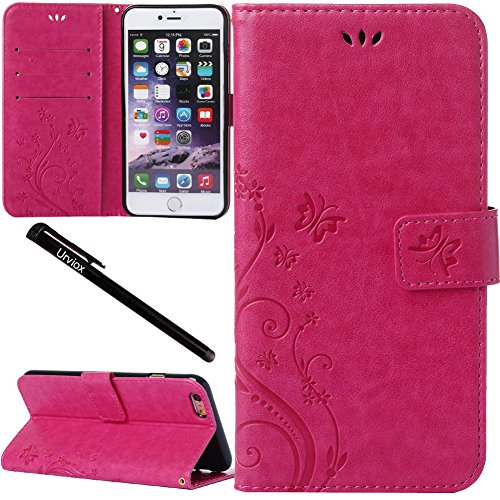 Urvoix iPhone 6 Plus/iPhone 6S Plus Case, Card Holder Stand Smooth Hand Feel PU Leather Wallet Case - Embossed Flower Butterfly Flip Cover for iPhone6 Plus/6S Plus(5.5