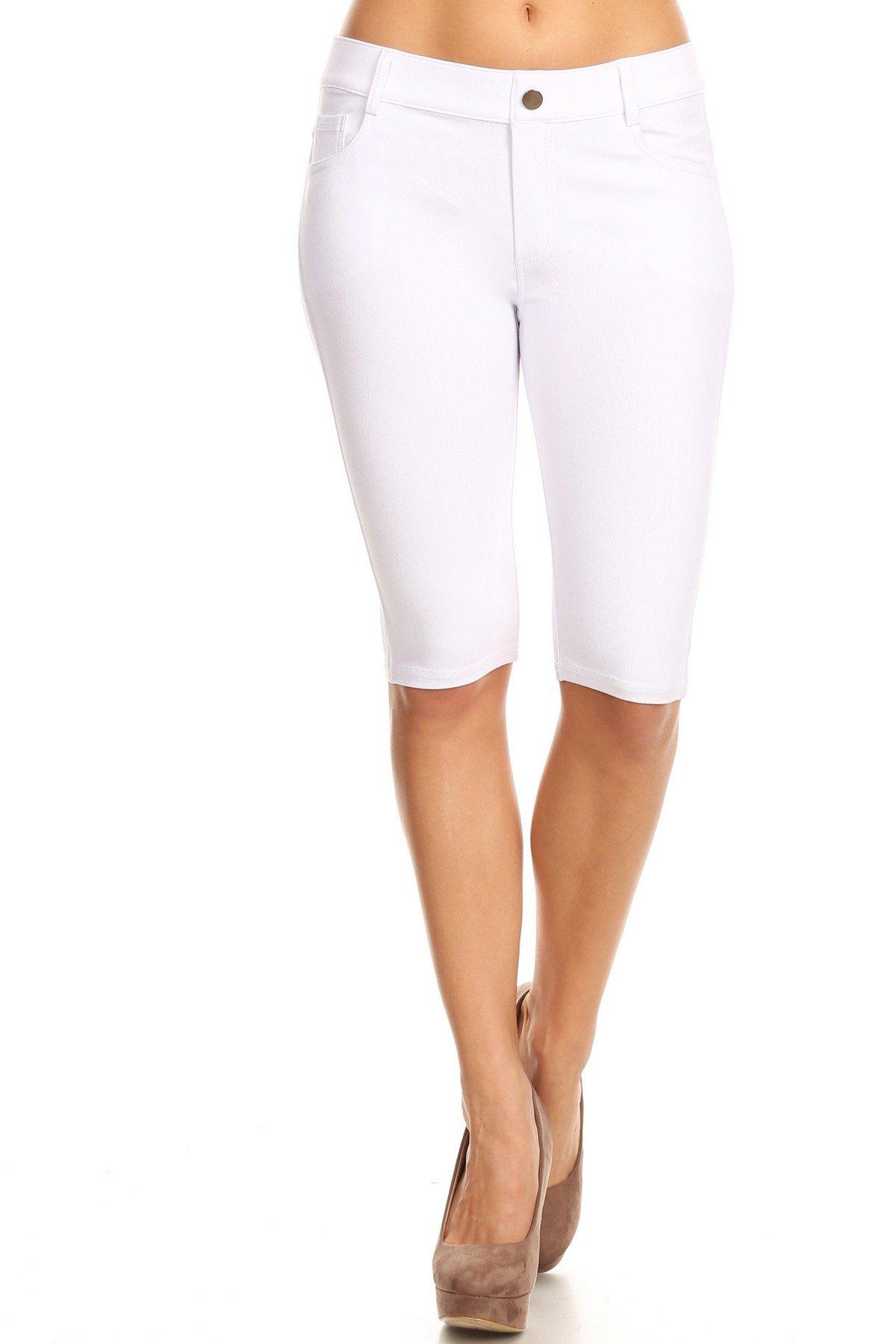 Yelete Women's Classic Bermuda Shorts (White, Large)