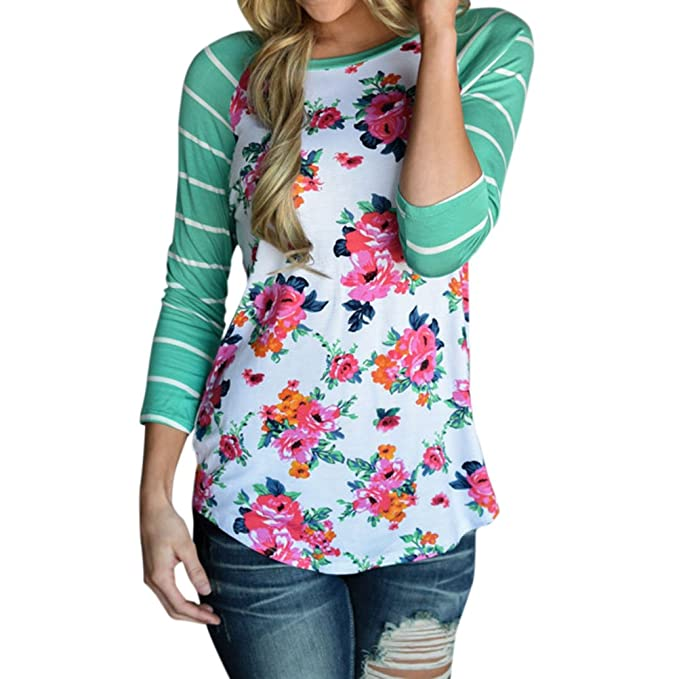 ae00d2876aeb39 Ezcosplay Women s Casual 3 4 Sleeve Striped Floral Print Shirt Blouse Tops  at Amazon Women s Clothing store