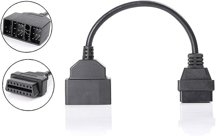 Yctze Conector de cable de diagn/óstico conector de diagn/óstico apto para Vauxhall para Opel cable adaptador OBD2 de 10 pines a 16 pines