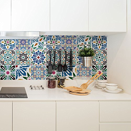 PS00122-P – Calcutta – Decorative Tile Adhesive for Bathroom and Kitchen Tile Stickers – Tile Adhesive, vinyl, 15×15 cm…