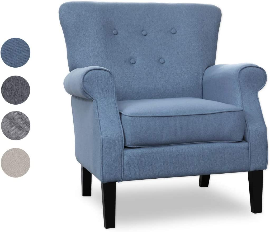 Top Space Accent Chair Sofa Mid Century Upholstered Roy Arm Single Sofa Modern Comfy Furniture for Living Room,Bedroom,Club,Office 1 PCs, Blue