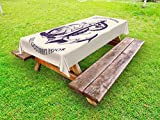 Lunarable Anchor Outdoor Tablecloth, Anchor Octopus Antique Sailing Historical Transportation Equipment Wildlife, Decorative Washable Picnic Table Cloth, 58 X 104 inches, Beige Dark Purple