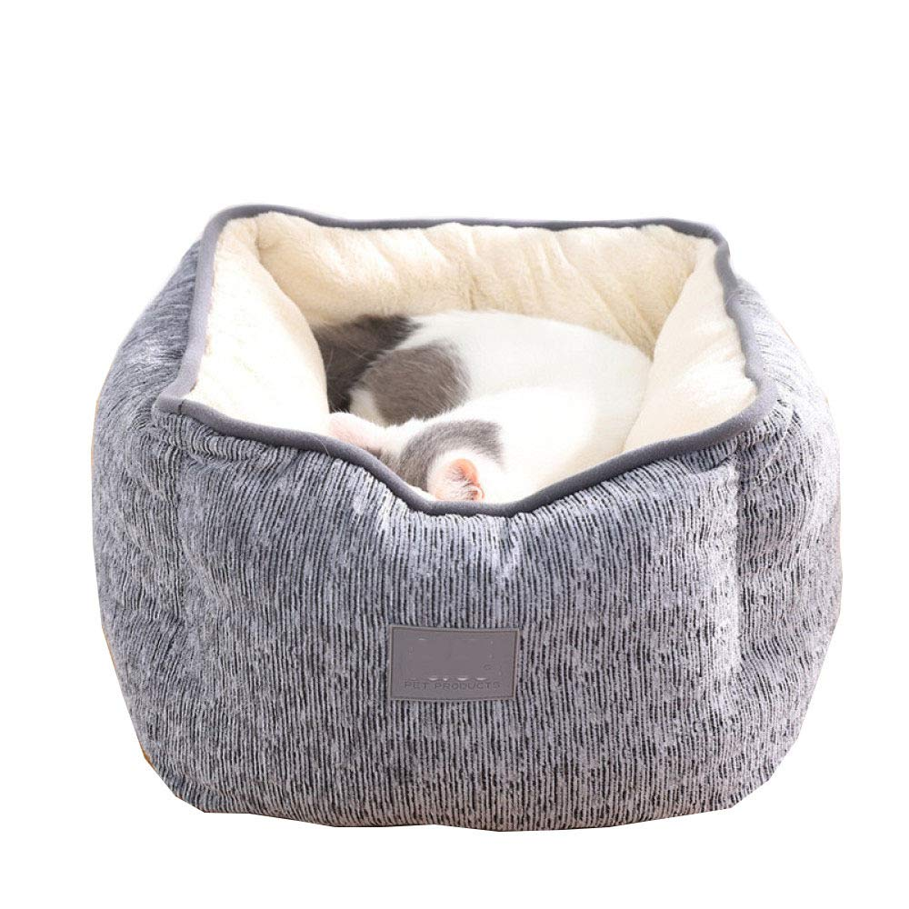 Grey 454523cm Grey 454523cm Cat Dog Kennel Square Warm Thick And Comfortable Breathable High Backrest Autumn And Winter Small Pet Dog Sleeping Mat,2 colors,Grey-45  45  23cm