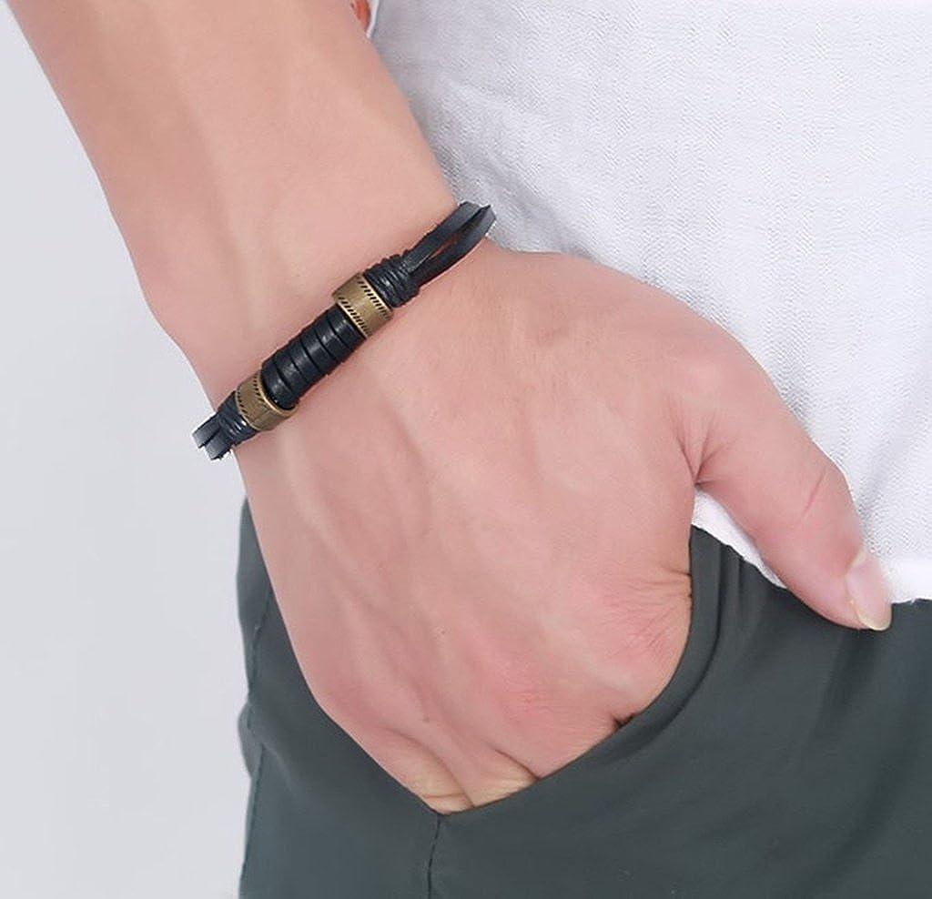Gnzoe Men Gold Plated Bracelet Chain Bracelet Leather Wrap Wrist Rope Black 21.5 cm