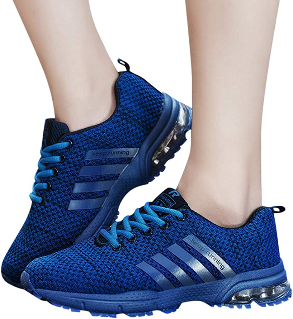 ANJUNIE Mens Lace Up Sneakers Sports Running Casual Shoes Breathable Solid Lightweight Shoe