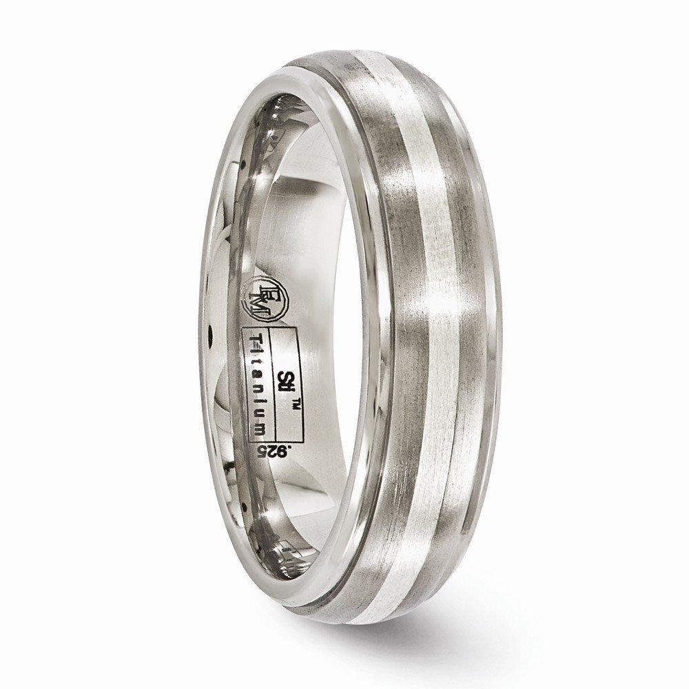 Bridal Wedding Bands Decorative Bands Edward Mirell Titanium Brushed and Polished with Sterling Silver 6mm Band Size 7.5
