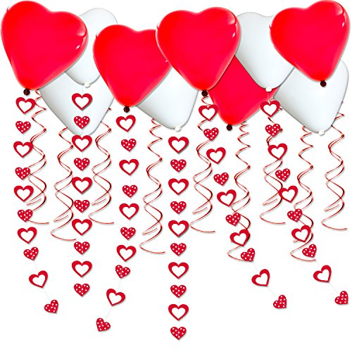 46Pcs White and Red Heart Wedding Anniversary Decorations Wedding Party Favor Suppliers for Engagement Party Decorations, Proposal Decorations, 25th Wedding Anniversary Decorations