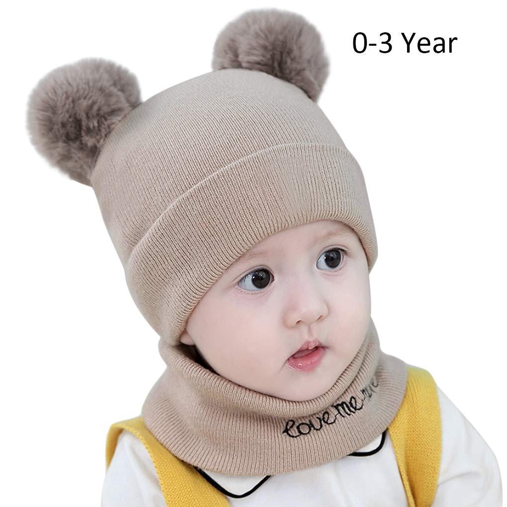 1db0bd0e40c92 Amazon.com  Toddler Infant Knit Hats Cozy Chunky Baby Beanies Soft Winter  Warm Pom Cap for Newborn Baby Boys Girls  Baby
