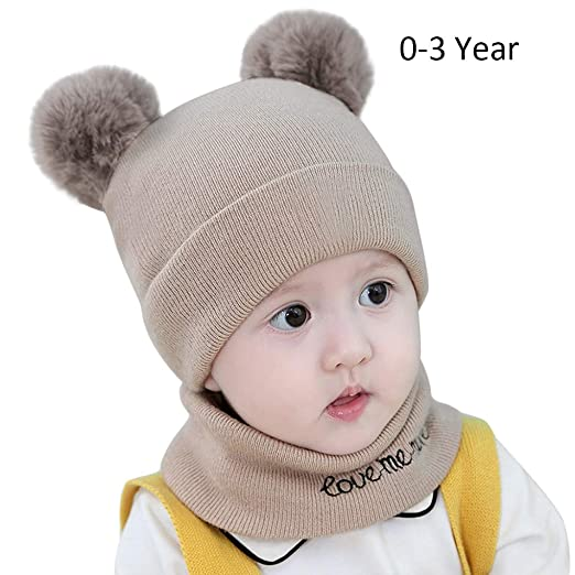db5a4b96b3551 Toddler Infant Knit Hats Cozy Chunky Baby Beanies Soft Winter Warm Pom Cap  for Newborn Baby
