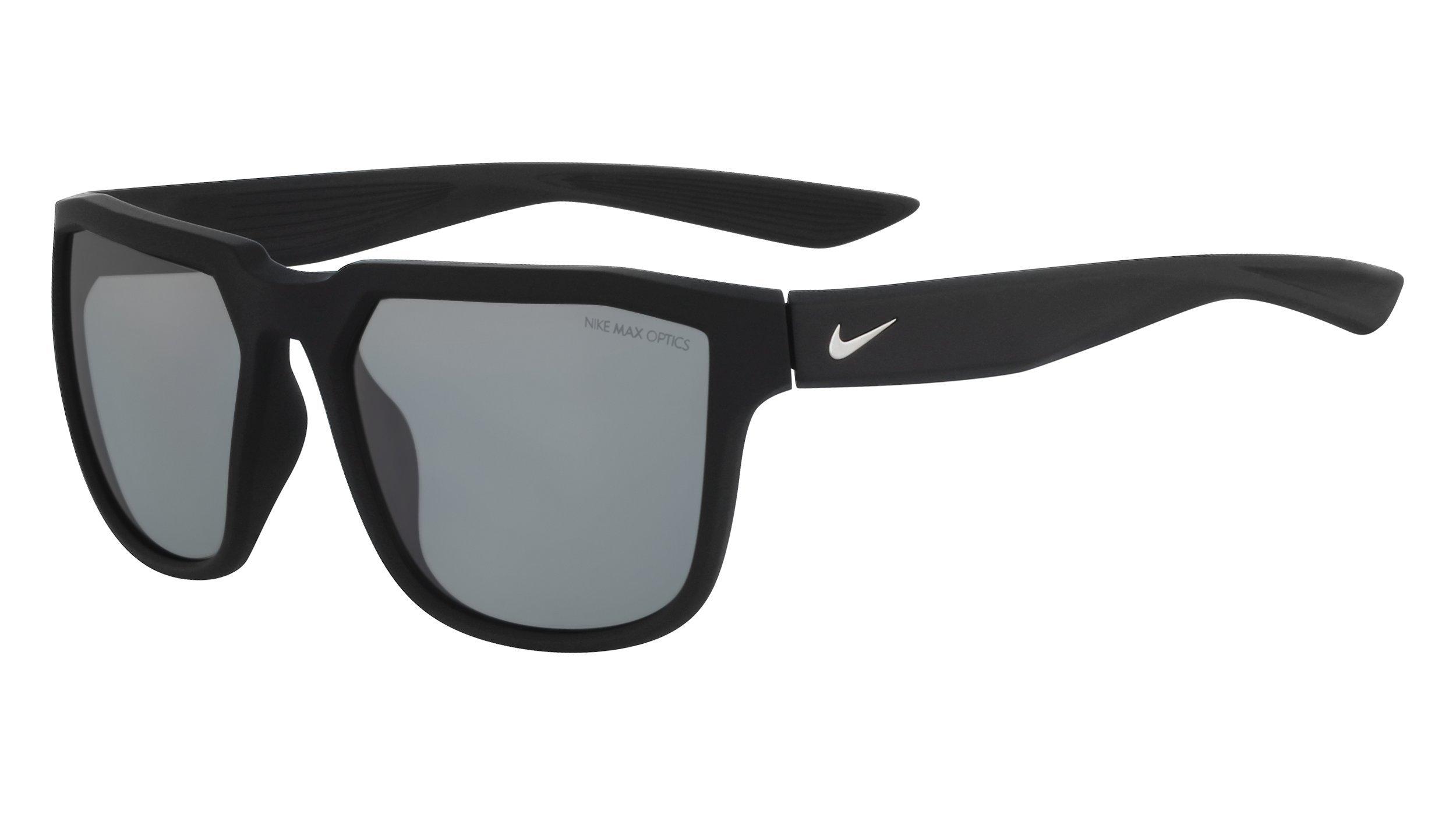 Nike Golf Men's Nike Fly Rectangular Sunglasses, Matte Black/Silver Frame, 57 mm
