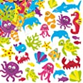 Baker Ross Super Sealife Foam Stickers 15 Assorted Designs Kid's Craft Activities, Embellishments for Decorating, Scrapbooking & Card Making (Pack of 108)