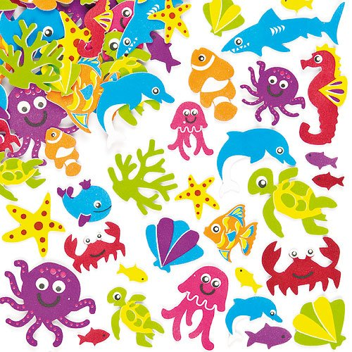 Super Sealife Foam Stickers 15 Assorted Designs Kid's Craft Activities, Embellishments for Decorating, Scrapbooking & Card Making (Pack of 108)