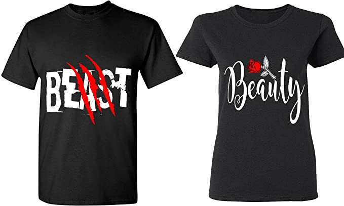 Amazon Com Beast Beauty Matching Couple Shirts His And Her T Shirts Tees Clothing