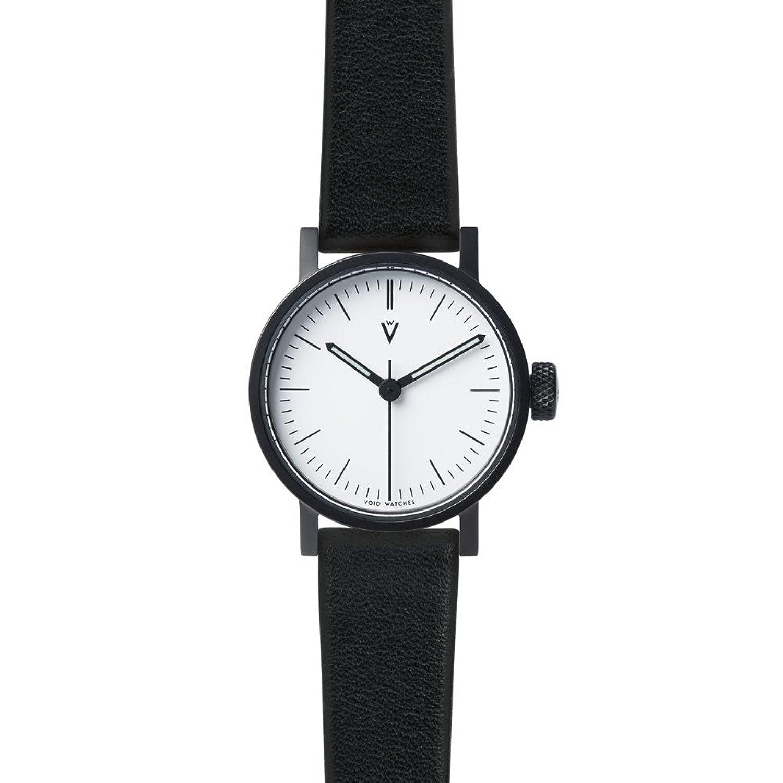V03P Petite Small Analog Watch by VOID Watches (Style: Schwarzes GehÄuse & weisses Zifferblatt - Leder-Armband Schwarz