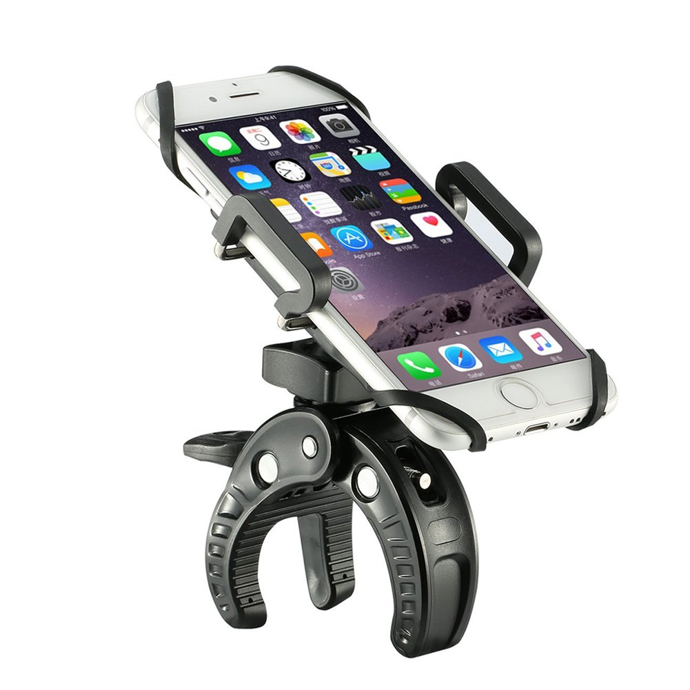 W&O Bike Phone Mount Phone Holder for Motorcycle Bicycle Handlebar Fits iPhone,Samsung galaxy/Note,Google Nexus,LG,Huawei,Cell Phone,Holds 1.9'' to 3.9'' Width (Black)