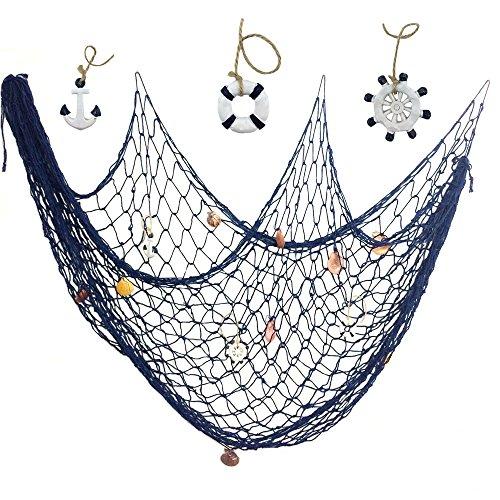Antique Cotton Nautical Fishing Net Beach Party Mediterranean Style - 2