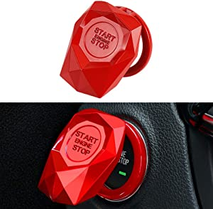 LECART 1Pc Red Car Engine Start Stop Button Cover Ring Ignition Start Stop Button Trim Push Button Switch Decor Stickers Auto Interior Accessories Aluminum Alloy Car Decorative Start Stop Button Caps