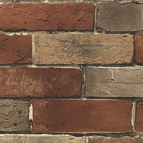 - Wallpaper Faux Smooth Rust Tuscan Brick Wall, Looks Real Up!