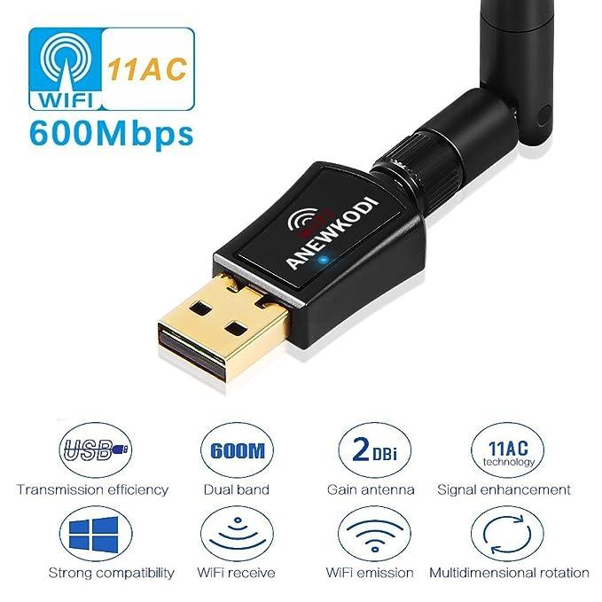ANEWKODI 600Mbps Dual Band (2 4G/150Mbps+5G/433Mbps) Wireless USB WiFi  Adapter,802 11N/G/B Antenna Network LAN Card for Windows  XP/Vista/7/8/8 1/10