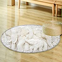 Round Rug Kid Carpet elephant sculpture is made of a stone. Sculptures in the temple  Home Decor Foor Carpe -Round 39
