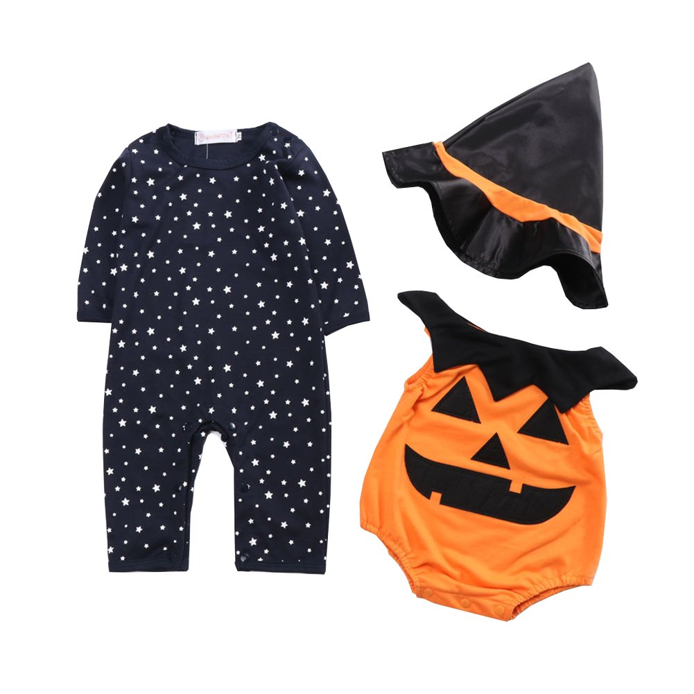 1d9575ef5ef04 Fairy Baby Halloween 3PCS Outfit Clothing Set Pumpkin Costume for Kids  Cosplay Party Clothes